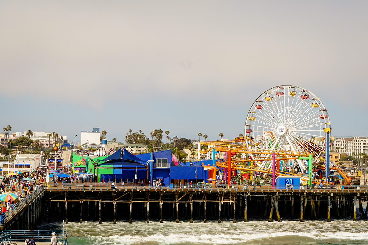 santa monica pier and ferris wheel